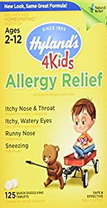 Hyland's 4 Kids Allergy Relief Tablets, Safe and Natural Indoor & Outdoor Allergy Relief for Children, 125 Count