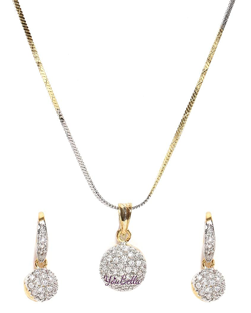Buy Youbella Gold Plated American Diamond Pendant Necklace Set