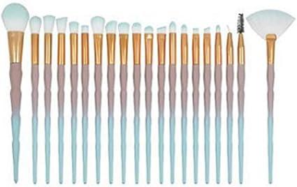 set de brochas para maquillaje 20-Pack Diamond Mermaid Unicorn Spiral Fiber Fibra artificial, 7: Amazon.es: Belleza