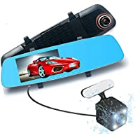 Podofo 5.0 Full HD 1080p Dual Lens Dash Cam 170° Wide Angle Anti-Glare Rear View Mirror & Backup Camera Vehicle Traveling Video Recorder, Automatic Loop Recording, Superior Night Vision