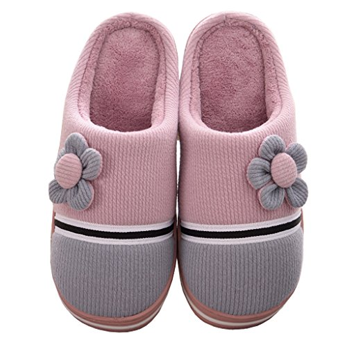 Eagsouni Women Men Winter Warm Plush Slippers Indoor Anti-Slip Cotton-Padded Slipper Home House Shoes for Travel Work Home Purple CZ3tm