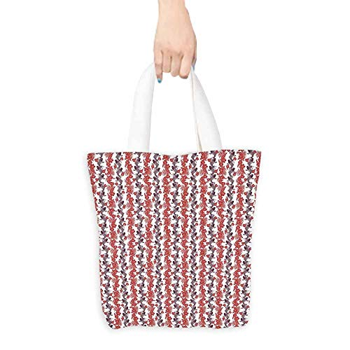 East West Lined Tote - Koi Fish Shopping Bag Hibiscuses Carp Koi Vertebrates in the Pattern of Harmony Between East and West boutique 16.5