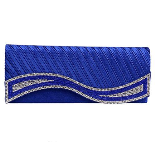 Elegant Handbag Satin Clutch Women's Rhinestones Damara Blue wHgqt4Wnx