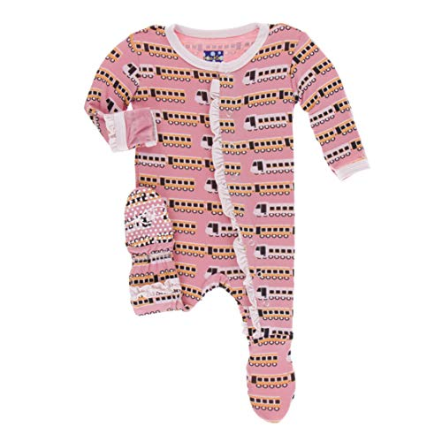 Kickee Pants Little Girls Print Classic Ruffle Footie with Snaps - Desert Rose Indian Train, 0-3 Months