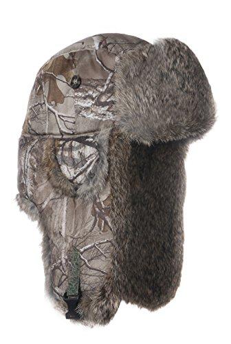 Mad Bomber Boys Realtree Winter Aviator Pilot Bomber Hat with Real Rabbit Fur (Medium) (Mad Camo Bomber Hat)