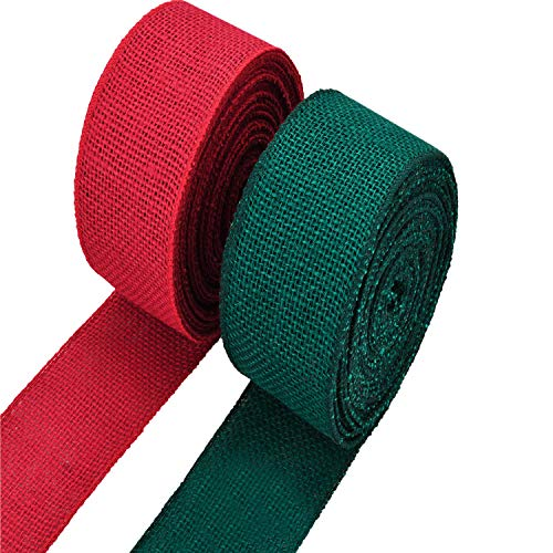 eBoot 2 Rolls Burlap Wired Ribbon Natural Weave Ribbon with Wired Edge for Christmas Crafts Decoration (Red and Green, 1.5 Inches by 315 Inches)