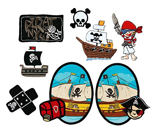 Mono-Quick 309 Aufbügelbilder Piraten, 8-er teilig, Piratenmotive, Polyester, Stickerei, 3.0 x 3.5 cm bis 7.0 x 10.0 cm