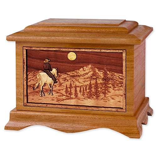Wooden Cremation Urn - Ambassador Shape with Mountain Hor...