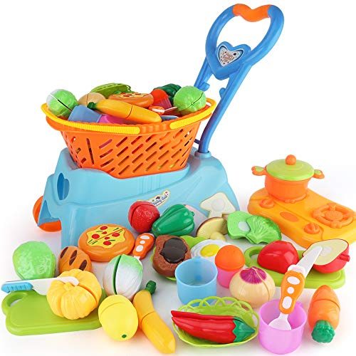 Sotodik 31PCS Cutting Toys Shopping Cart Toys Pretend Food Fruits Vegetable Playset Educational Learning Toy Kitchen Play Food For Boy Girl Kid (Blue)]()