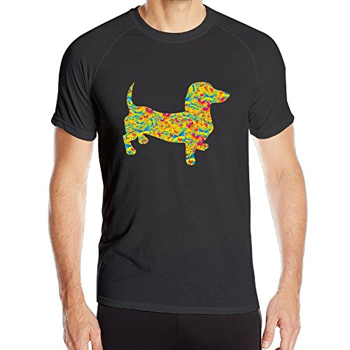 BUTTERFLY DOXIE DACHSHUND Men's Quick Dry Short Sleeve T-Shirt Athletic Shirts (Dachshund Fitted T-shirt)