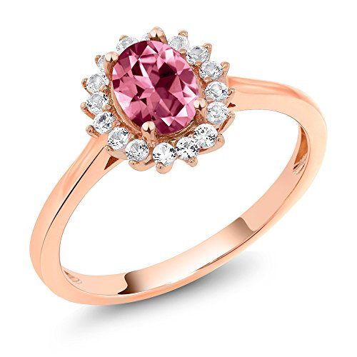 10K Rose Gold Ring Created Sapphire Set with Oval Pink Topaz from Swarovski (Size 6)