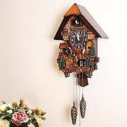 Time clock Cuckoo music wall clock Living room decorative clocks Mute led message clock Solid wood