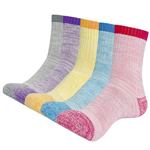 KONY Womens Hiking Trekking Socks, 5 Pack Cotton Full Cushioned Moisture Wicking Outdoor Crew Socks, Mid Calf Size 6-8.5(Mix-2, Medium)
