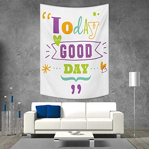 smallbeefly Quotes Tapestry Table Cover Bedspread Beach Towel Today is a Good Day Inspiring Happiness Happy Moments Word Work Success Print Dorm Decor Beach Blanket 54W x 72L INCH Multicolor