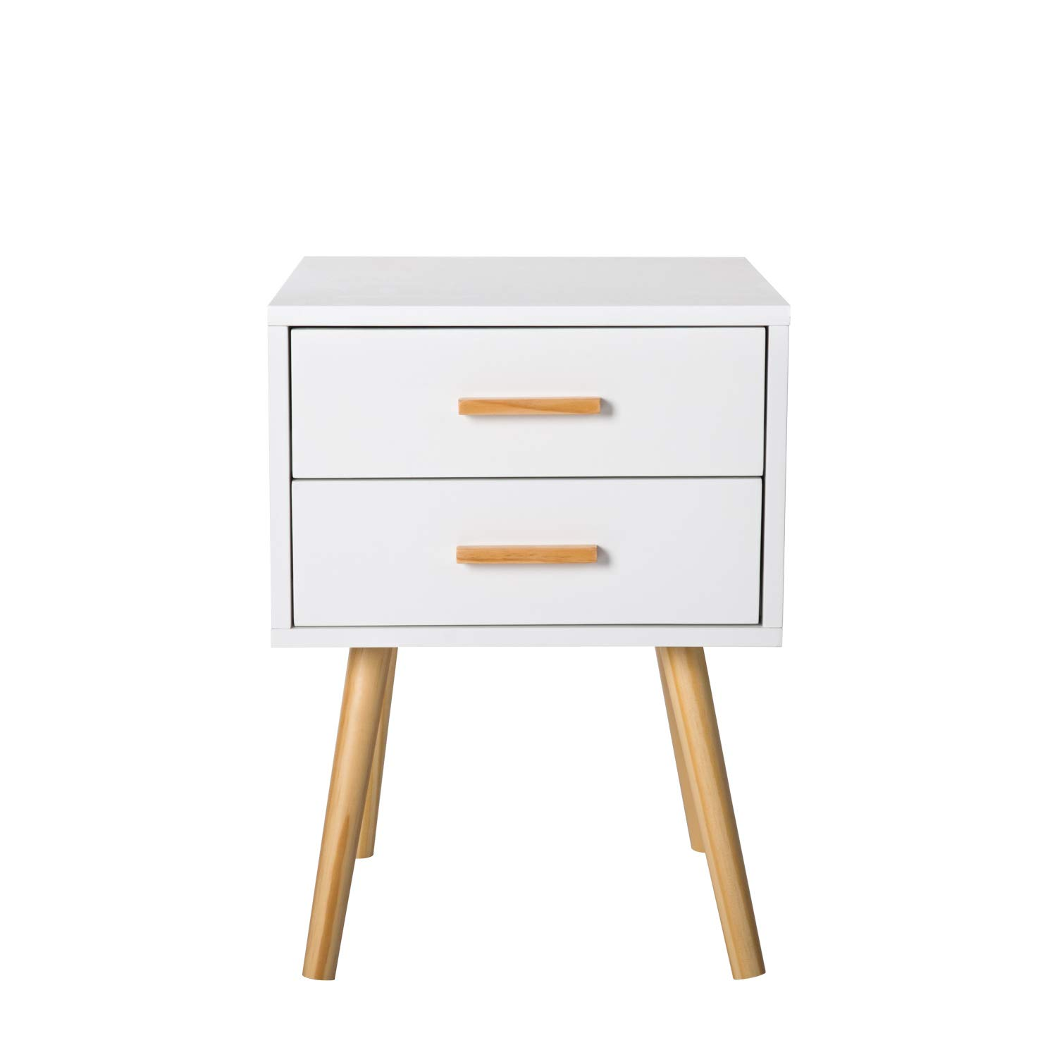 Peach Tree Side End Table Nightstand with 2 Drawers Storage Mid-Century Accent Wood Furniture, White/Wooden