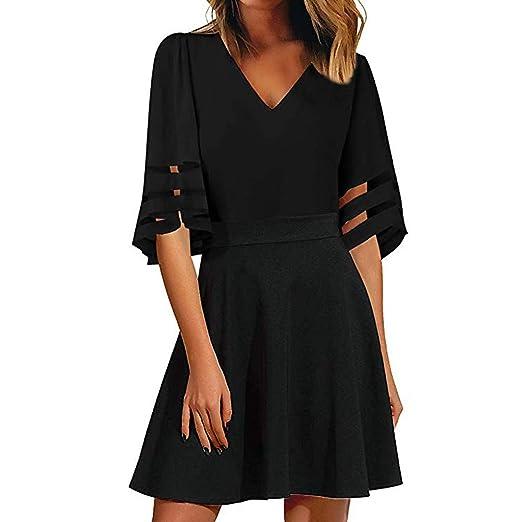 ea6c739f3960 Womens Mini Dress Casual V Neck Mesh Half Sleeve A Line Pleated Zipper  Flowy Simple Summer
