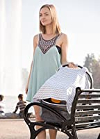 OxGord 2 in 1 Organic Cotton Breathable Nursing Scarf Cover Up Apron for Breastfeeding and Baby Car Seat Cover