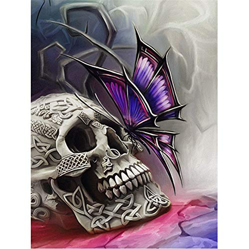 (DIY Oil Painting Drawing with Brushes Paint, Paint by Number Kit for Adults, Halloween Butterfly Skull Decoration)