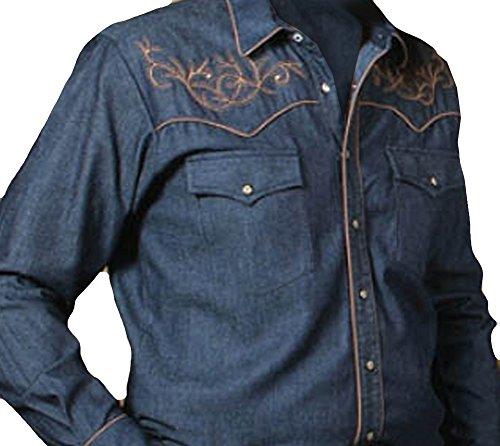 Modestone Men's Embroidered Western Hemd Filigree Longhorn Bull Blue