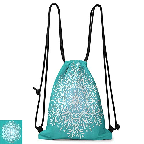 - Drawstring backpack Blue Snowflake Like Eastern Floral Leaves Mandala Image Winter Themed Art Print W14