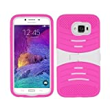 Samsung Galaxy S6 case, Allmet TM Multi Color Samsung Galaxy S6 Fusion Heavy Duty Rugged Impact Hybrid Lateral stand Case Cover; Hard Shell Combo Case Cover Kickstand Protective Case for Samsung Galaxy S6 (White+Pink)