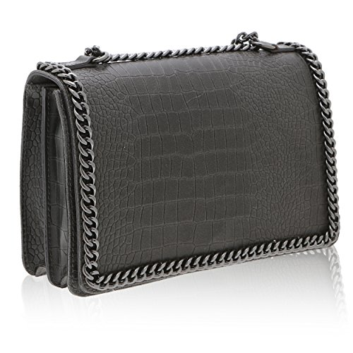 Chicca Borse - Damen Umhängetasche aus echtem Leder Made in Italy - 30 x 20 x 10 Cm Dunkelgrau