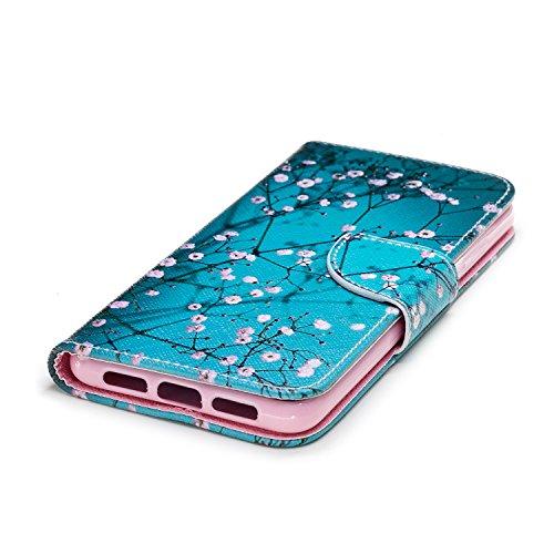 Funda para Huawei P20 , IJIA Hermoso Flores De Pera TPU + PU Ranuras para Tarjetas de Crédito Flip Folio Caja [Estilo Libro,Soporte Plegable ] Cover Tapa Caso Parachoques Carcasa Cubierta para Huawei