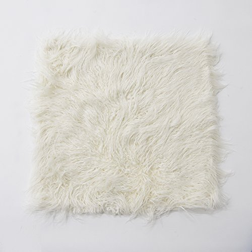 - Best Home Fashion Ivory Mongolian Lamb Faux Fur Pillow Cover- 24 (set of 2 covers)