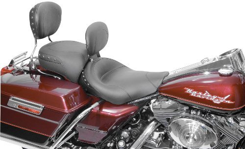 Mustang Solo Studded Seat with driver backrest for 1997-2011 Harley Davidson FL