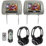 Rockville RDP711-GR 7 Grey Car Headrest Monitors w/DVD//HDMI/Games+Headphones