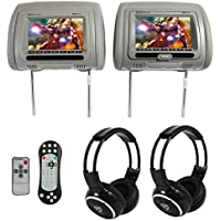 "Rockville RDP711-GR 7"" Grey Car Headrest Monitors w/DVD//HDMI/Games+Headphones"