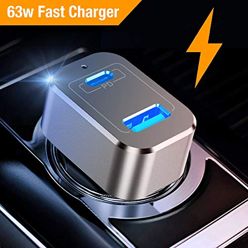 (Upgrade) Car Charger, Capshi 63W USB Type-C PD Car Charger Adapter with Quick Charge 3.0 Dual Port Compatible MacBook Pro, Galaxy Note 9, S8 Plus, Google Pixel 3 XL, iPhoneXs XR X, iPad Pro Air Mini ()