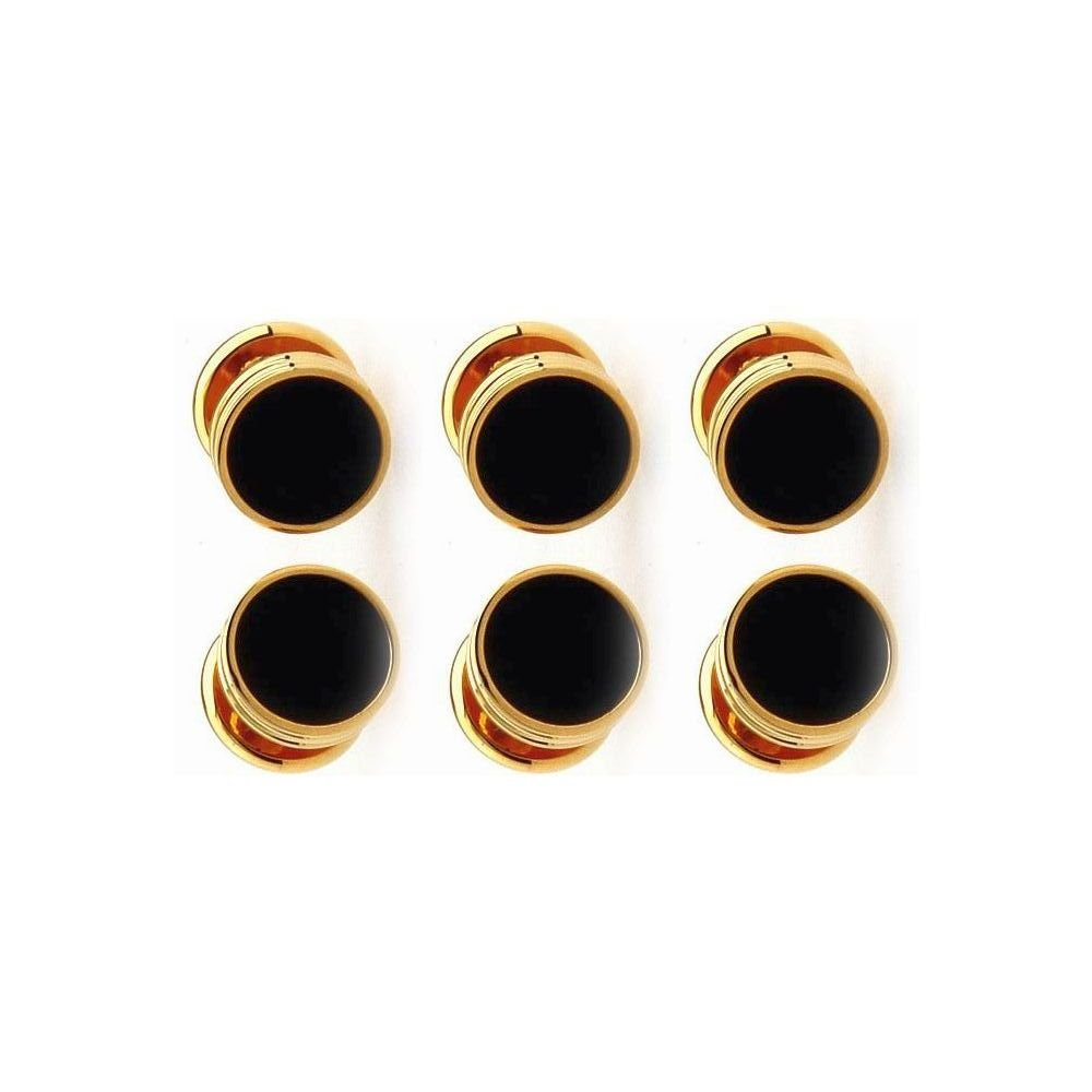 Black / Gold coloured Shirt studs - set 6