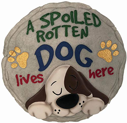 Spoontiques 13243 Spoiled Rotten Dog Stepping Stone, Multicolor (Dog Stepping Stones)