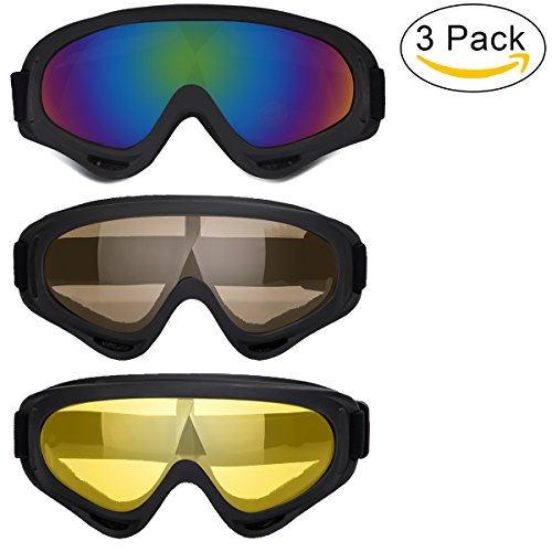 Ski Goggles 3 Pack, Snowboard Goggles for Kids Boys Girls Youth Men Women, with 100% UV400 Protection, Wind Resistance, Anti-Glare Lens (Include Cleaning Cloth)