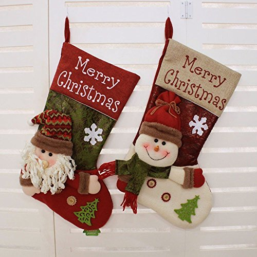 Disumos Christmas Stocking, Set of 2 Large Xmas Stockings Christmas Party Decorations Bags Socks Santa Reindeer Snowman Candy Bag 20