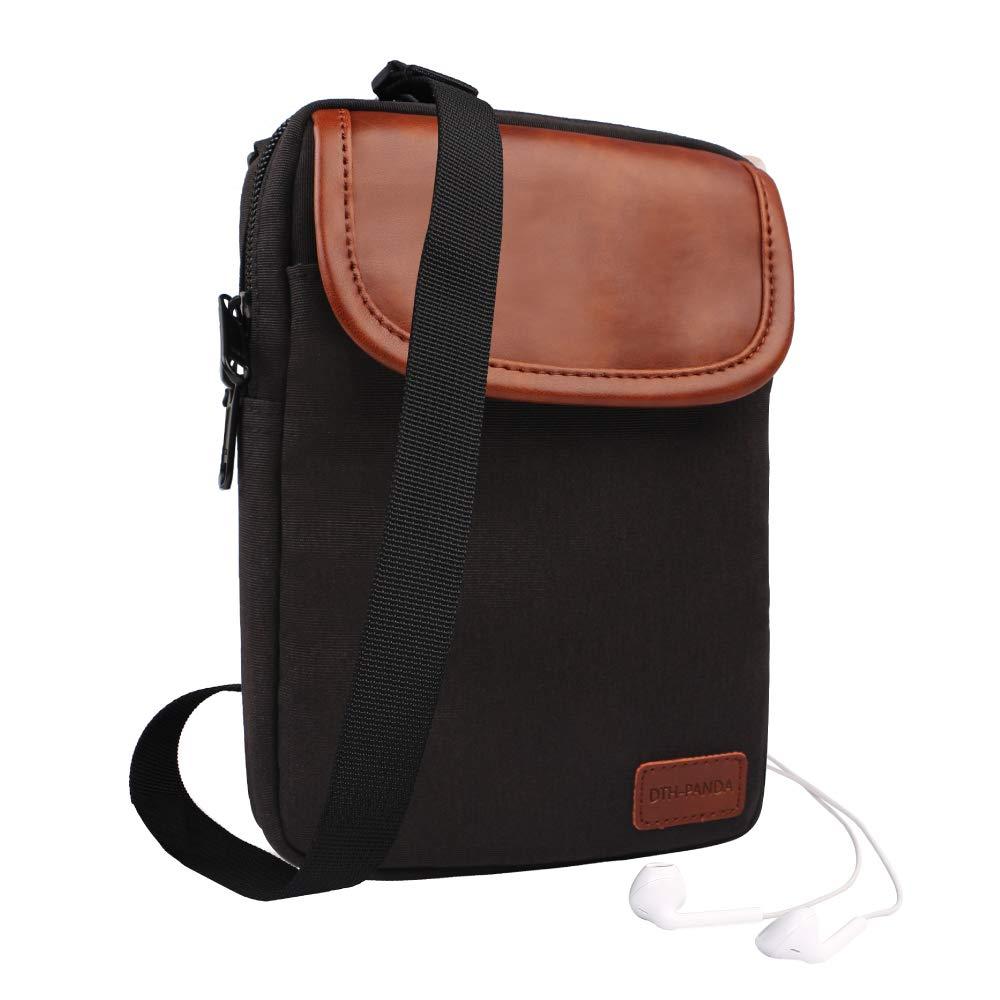DTH-PANDA Small Crossbody Messenger Bag Crossbody Messenger Bag Shoulder Travel Wallet Passport Holder Bag -Black