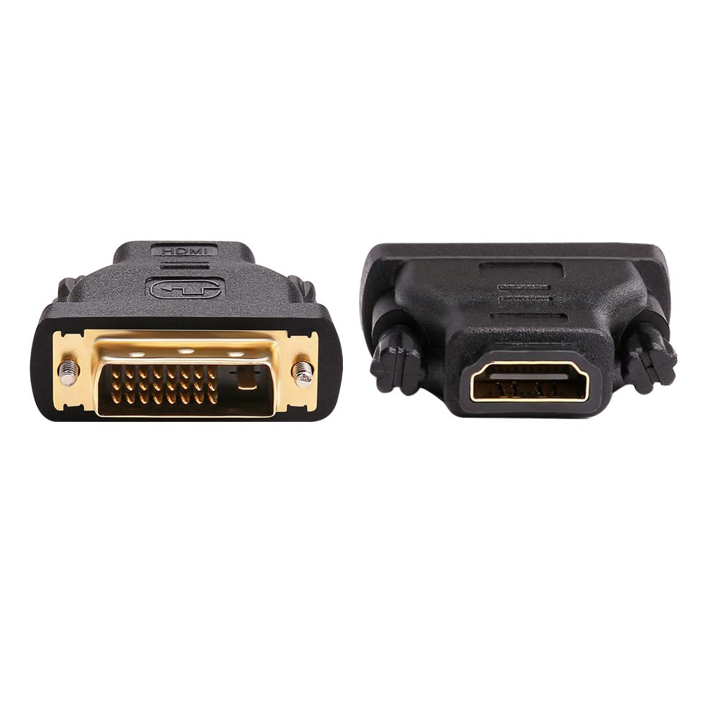 DTECH DVI Male to HDMI Female Adapter Bi-Directional DVI-D Port Converter