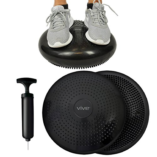 Vive Wobble Cushion with Exercise Book - Inflatable Balance Disc Seat - Fitness Core Stability Trainer Wiggle Pad for Office Chair, Rehab, Isokinetics, PT - Kids Adult Workout Equipment with - Office Chair Elite