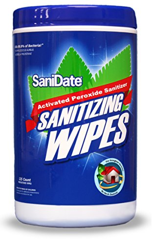 SaniDate Hard Surface Sanitizing Wipes - 125 count - EPA Registered - No Rinse - Green Cleaning