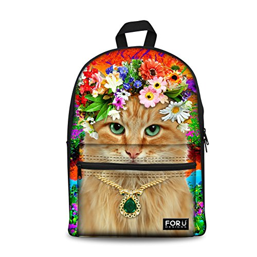 Bigcardesigns Girls Red Flower Animal Cat Back to School ...