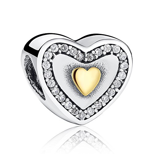 Everbling Heart Clear CZ 925 Sterling Silver Bead Fits European Charm Bracelet by Everbling