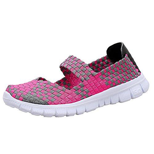 Sur Sport Confort À 075 Mode Main Tissées La Femmes Glisser Chaussures Rose De Chaussures Légères Fzdx Marche De Chaussures gwOq0I