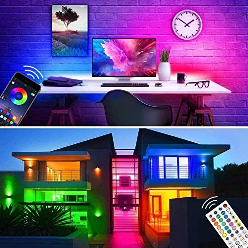 Bluetooth LED Strip Lights 32.8ft APP Control, Waterproof Flexible RGB Neon Room Lights Color Changing Rope Lights 300LEDs 5050 LED Music Sync Tape Lights with Remote for Bedroom Gaming Mood Lighting