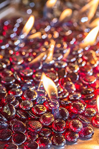 Glass Beads Fireplace Glass- Sangria Luster 1/2 Inch - 25 Lbs by All Backyard Fun