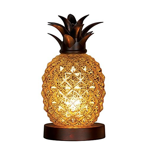 Collections Etc Mercury Glass Tabletop Pineapple Lamp