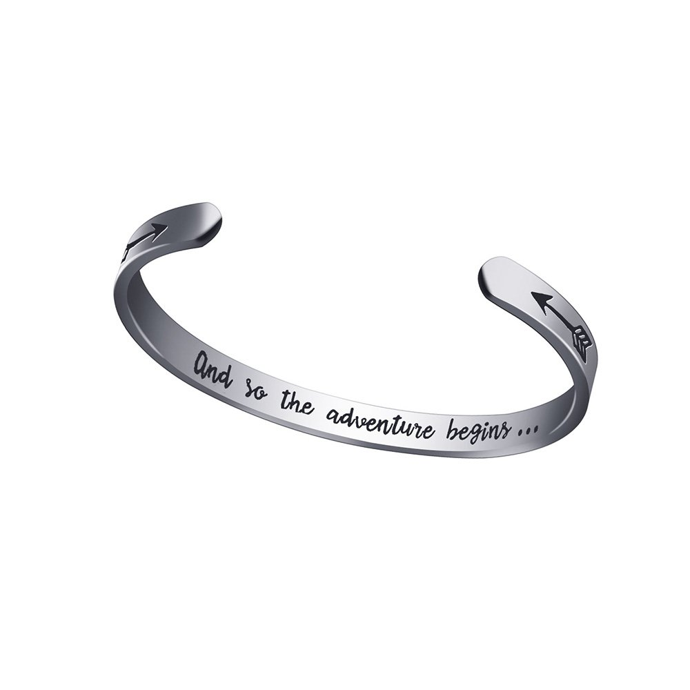 Dec.bells 2018 2019 Graduation Gift for Her Him and So The Adventure Begins Silver Cuff Bracelet 316L Stainless Steel Engraved Cuff Bangle Bracelet for Women Men Girls Boys Unisex (Silver)