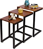 3-Piece Cedar Wood & Metal Nesting End Table Set by Trademark Innovations