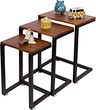 3 Piece Cedar Wood U0026 Metal Nesting End Table Set By Trademark Innovations