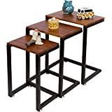 Trademark Innovations TBLE-NESTING 3-Piece Cedar Wood and Metal Nesting End Table Set, Brown